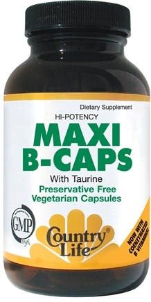 DROPPED: Country Life - Maxi-B Caps with Taurine 100 mg. - 30 Vegetarian Capsules
