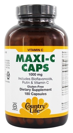 Country Life - Maxi C Caps with Bioflavonoids, Rutin & Vitamin C 1000 mg. - 180 Vegetarian Capsules