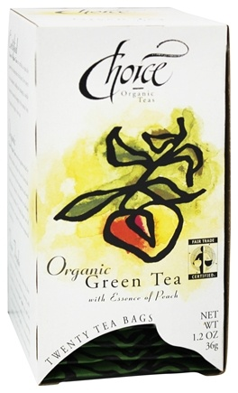 Choice Organic Teas - Gourmet Green Tea with Essence of Peach - 20 Tea Bags