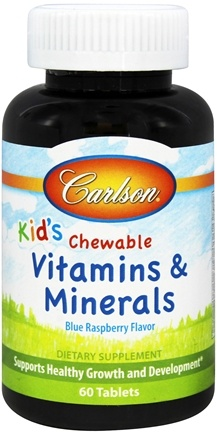 Carlson Labs - Kids Chewable Vitamins and Minerals Blue Raspberry Flavor - 60 Chewable Tablets