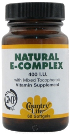 DROPPED: Country Life - Natural Vitamin E Complex with Mixed Tocopherols 400 IU - 60 Softgels CLEARANCE PRICED