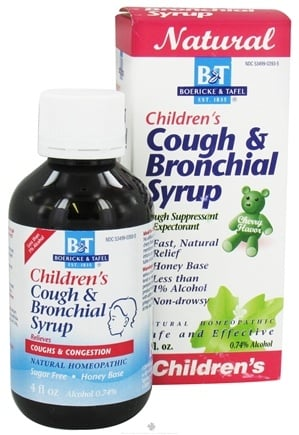 DROPPED: Boericke & Tafel - Cough & Bronchial Syrup for Children Cherry Flavor - 4 oz. CLEARANCE PRICED