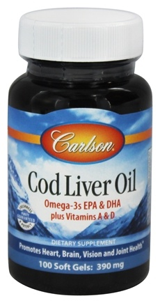 Carlson Labs - Norwegian Cod Liver Oil 390 mg. - 100 Softgels