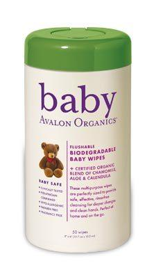DROPPED: Avalon Organics - Baby Wipes Flushable Biodegradable - 50 Wipe(s)