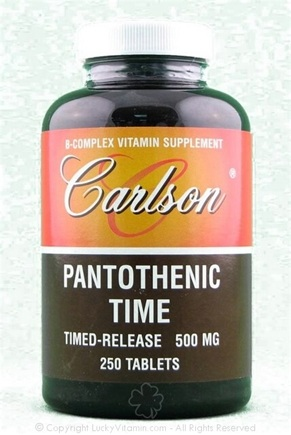 DROPPED: Carlson Labs - Pantothenic Time Timed-Release 500 mg. - 250 Tablets
