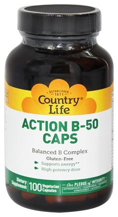Country Life - Action B50 Caps Balanced B Complex - 100 Vegetarian Capsules