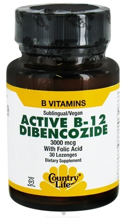 DROPPED: Country Life - Active B-12 Dibencozide with Folic Acid Sublingual 3000 mcg. - 30 Lozenges CLEARANCE PRICED