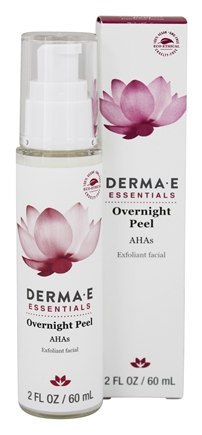 Derma-E - Evenly Radiant Overnight Peel with Alpha Hydroxy Acids Fragrance-Free - 2 oz. formerly AHA Beauty Fluid