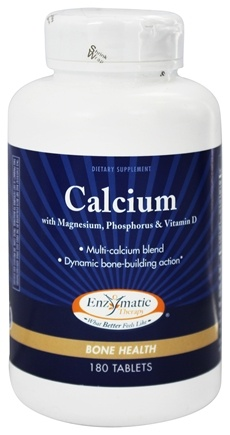 Enzymatic Therapy - Calcium with Magnesium, Phosphorus, and Vitamin D - 180 Tablets