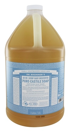 Dr. Bronners - 18-in-1 Hemp Baby-Mild Pure Castile Soap Unscented - 128 oz. - 1 Gallon