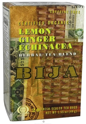 DROPPED: Flora - Bija Lemon Ginger Echinacea Herbal Tea Certified Organic Caffeine Free - 20 Tea Bags