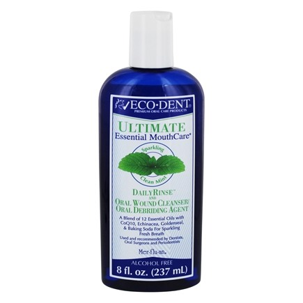Eco-Dent - Ultimate Daily Rinse and Oral Wound Cleanser/Oral Debriding Agent Alcohol Free Sparkling Clean Mint - 8 oz.