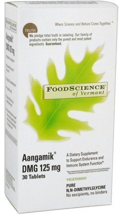 DROPPED: FoodScience of Vermont - Aangamik DMG 125 mg. - 30 Vegetarian Tablets CLEARANCED PRICED