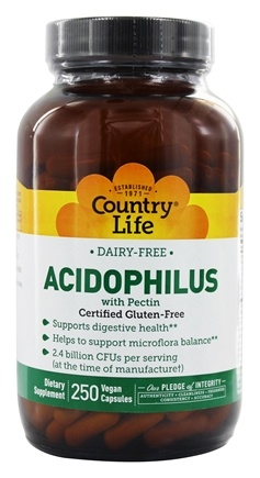 DROPPED: Country Life - Acidophilus Probiotic Dairy-Free - 250 Vegetarian Capsules