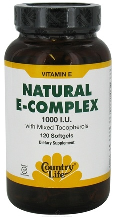 DROPPED: Country Life - Natural E-Complex with Mixed Tocopherols 1000 IU - 120 Softgels CLEARANCE PRICED