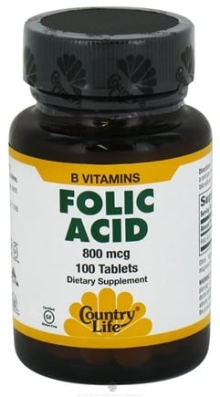 DROPPED: Country Life - Folic Acid 800 mcg. - 100 Tablets CLEARANCE PRICED
