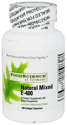 DROPPED: FoodScience of Vermont - Natural Vitamin E 400 Mixed Tocopherol 400 IU - 100 Capsules CLEARANCE PRICED
