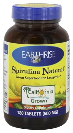 DROPPED: Earthrise - Spirulina Natural Green Super Food For Longevity 500 mg. - 180 Tablets