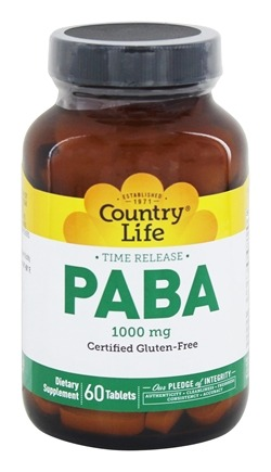 Country Life - PABA Time Release 1000 mg. - 60 Tablets