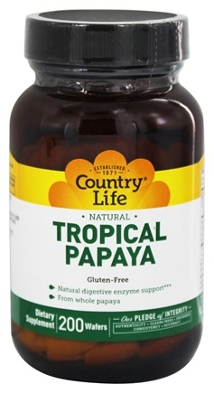 DROPPED: Country Life - Natural Tropical Papaya 25 mg. - 200 Chewable Wafers