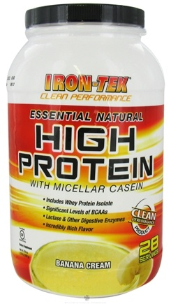 DROPPED: Iron Tek - Essential Natural High Protein with Micellar Casein Banana Cream - 2.24 lbs.