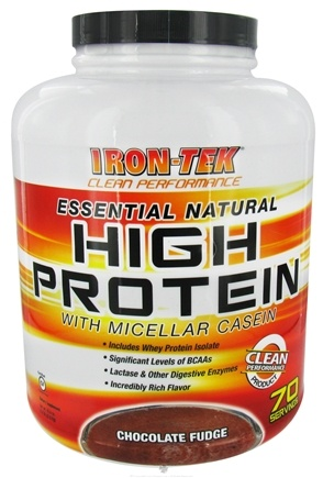 DROPPED: Iron Tek - Essential Natural High Protein With Micellar Casein Chocolate Fudge - 5.8 lbs.