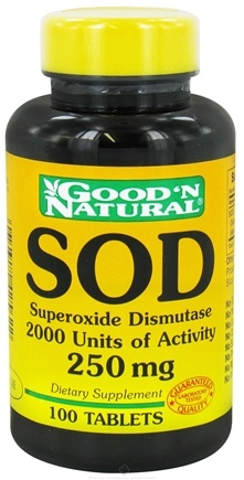 DROPPED: Good 'N Natural - SOD Superoxide Dismutase 2000 Units of Activity 250 mg. - 100 Tablets