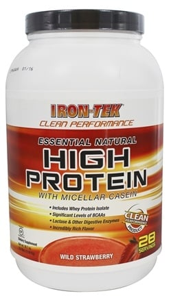 DROPPED: Iron Tek - Essential Natural High Protein with Micellar Casein Wild Strawberry - 2.2 lbs.