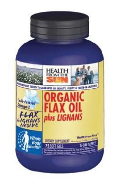 DROPPED: Health From The Sun - Organic Flax Oil plus Lignans - 75 Softgels