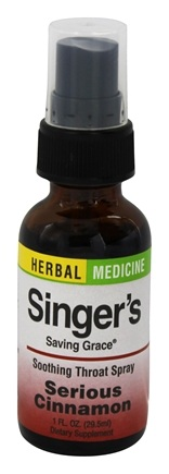 Herbs Etc - Singer's Saving Grace Soothing Throat Spray Serious Cinnamon - 1 oz.