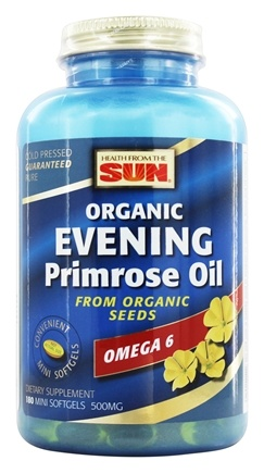 Health From The Sun - Organic Evening Primrose Oil From Organic Seeds 500 mg. - 180 Mini Softgel(s)