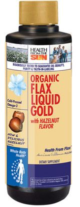 DROPPED: Health From The Sun - Organic Flax Liquid Gold with Hazelnut Flavor - 16 oz.