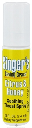 DROPPED: Herbs Etc - Singer's Saving Grace Soothing Throat Spray Alcohol-Free Citrus & Honey - 0.25 oz.