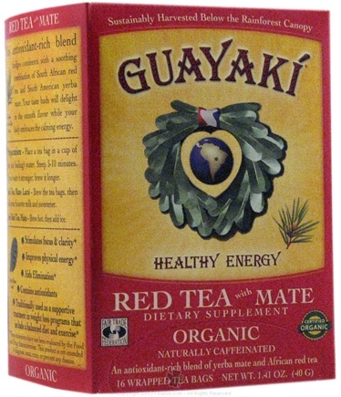 DROPPED: Guayaki - Red Tea With Mate Healthy Energy 100% Organic - 16 Tea Bags