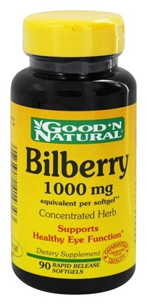 DROPPED: Good 'N Natural - Bilberry 1000 mg. - 90 Softgels