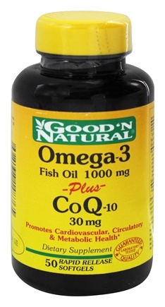 DROPPED: Good 'N Natural - Omega-3 Fish Oil 1000 Mg plus CoQ-10 30 Mg - 50 Softgels