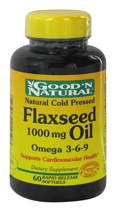 DROPPED: Good 'N Natural - Organic Flaxseed Oil Omega 3-6-9 1000 mg. - 60 Softgels