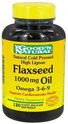 DROPPED: Good 'N Natural - Organic High Lignan Flaxseed Oil Omega 3 6 9 1000 mg. - 120 Softgels