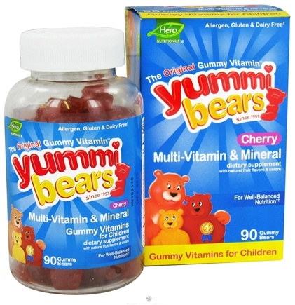 DROPPED: Hero Nutritionals Products - Yummi Bears Multi-Vitamin & Mineral Cherry - 90 Gummies