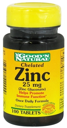 DROPPED: Good 'N Natural - Chelated Zinc (Zinc Gluconate) 25 mg. - 100 Tablets