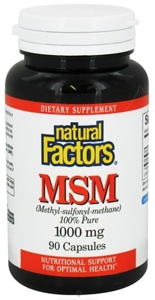 DROPPED: Natural Factors - MSM (Methyl-sulfonyl-methane) 1000 mg. - 90 Capsules CLEARANCE PRICED