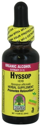 DROPPED: Nature's Answer - Hyssop Herb Organic Alcohol - 1 oz. CLEARANCE PRICED