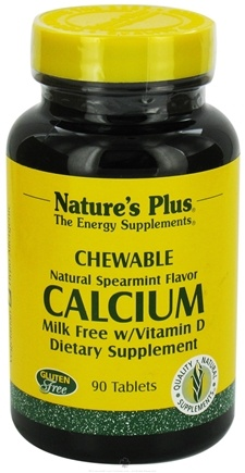 DROPPED: Nature's Plus - Calcium with Vitamin D Milk-Free Chewables Spearmint - 90 Chewable Tablets CLEARANCE PRICED