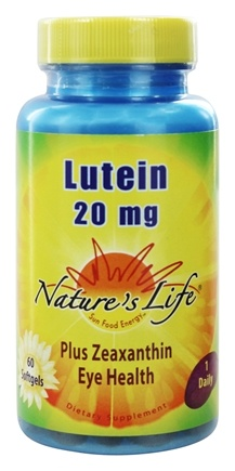 DROPPED: Nature's Life - Lutein 20 mg. - 60 Softgels