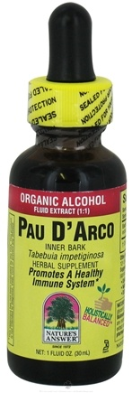 DROPPED: Nature's Answer - Pau D' Arco Inner Bark Organic Alcohol - 1 oz. CLEARANCED PRICED
