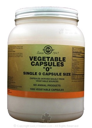 DROPPED: Solgar - Vegetable Capsules 0 Capsule Size - 1000 Vegetarian Capsules