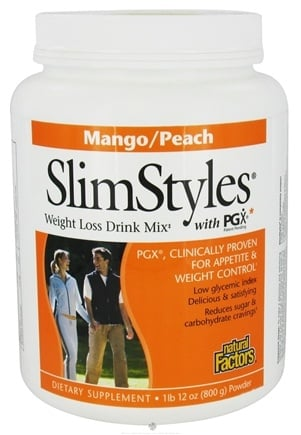 DROPPED: Natural Factors - SlimStyles Weight Loss Drink Mix with PGX Mango/Peach Flavor - 28 oz.