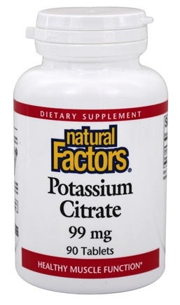 DROPPED: Natural Factors - Potassium Citrate 99 mg. - 90 Tablets