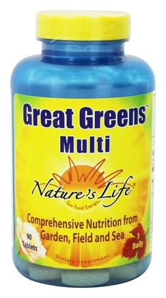 Nature's Life - Great Greens Multi - 90 Tablets Formerly Vitamin/Mineral