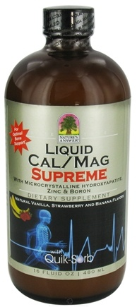 DROPPED: Nature's Answer - Liquid Cal/Mag Supreme Natural Vanilla, Strawberry and Banana Flavors - 16 oz. CLEARANCE PRICED